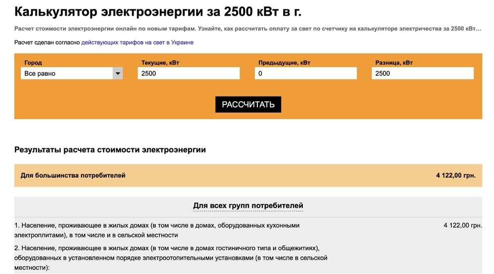 Калькулятор электроэнергии за 2500 кВт в г.