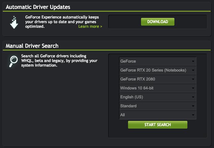 Поиск и загрузка драйверов для видеокарт Nvidia